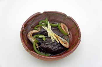 干し海老と茄子の煮浸し